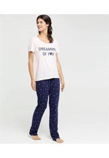 Pijama Estampa Frontal Manga Curta Marisa Feminino - Feminino-Rosa