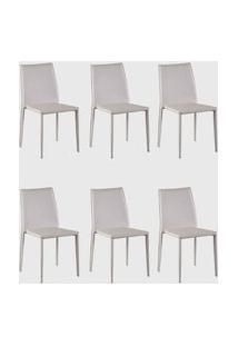Kit 06 Cadeiras Amanda Pvc Nude Rivatti Off-White