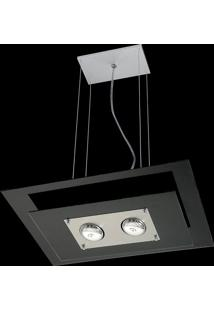 Pendente Saturno Aluminio E Vidro Lmr 140 Escovado Preto Bivolt