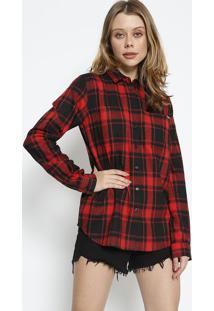 baf8e62a7e R$ 179,99. Privalia Camisa Xadrez Com Bolso- Preta & Vermelha- Colccicolcci