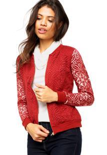 Jaqueta Marialicia Textura Vermelha