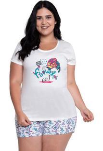 Pijama Short Doll Plus Size Flor Girl Manga Curta Luna Cuore