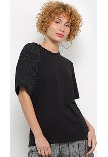 Camiseta Colcci Manga Trabalhada Feminina - Feminino