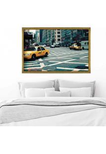 Quadro Love Decor Com Moldura New York City Dourado Médio