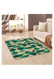 Tapete Sala Wevans Triângulos Verdes Único