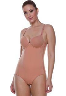 Body Modelador Feminize Com Bojo De Taças Lisa - Feminino-Caramelo