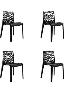 Kit 04 Cadeiras Gruv Preta Rivatti