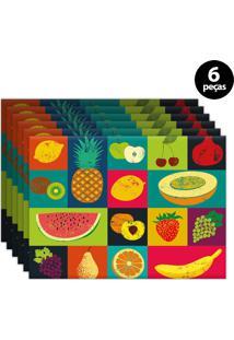 Kit 6Pçs Jogo Americano Mdecor Frutas 40X28Cm Verde