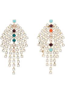 Isabel Marant Silver Metallic Gem Drop Earrings - Metálico
