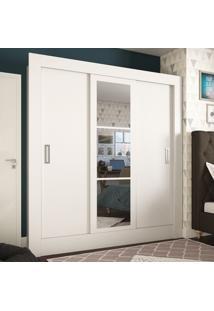 Guarda-Roupa Casal 3 Portas De Correr Com Espelho Smart Plus Branco - Pnr Móveis