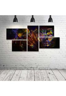 Quadro Decorativo - Psychedelic-Cg-Digital-Art - Composto De 5 Quadros - Multicolorido - Dafiti