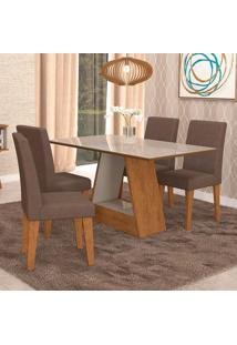 Conjunto De Mesa De Jantar Retangular Alana Com 4 Cadeiras Milena Suede Chocolate E Off White