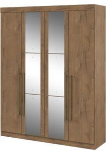 Guarda-Roupa Castellaro - 4 Portas - Carvalho Soft - Com Espelho