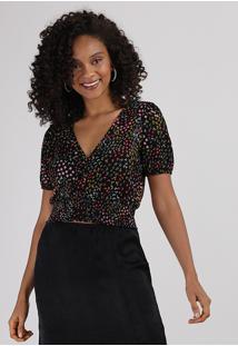 Blusa Feminina Cropped Estampada Floral Com Botões E Lastex Manga Bufante Decote V Preta