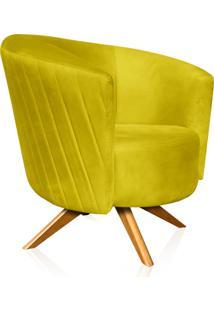Poltrona Decorativa Angel Gomada Suede Amarelo Com Base Giratória Madeira - D'Rossi