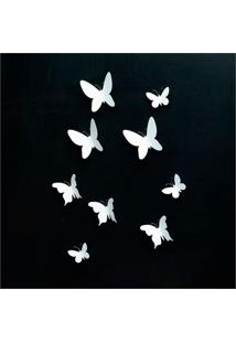 Painel Decorativo Butterfly 26X13Cm Branco