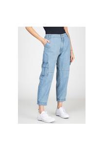 Calça Jeans Jogger Cargo Bloom Com Elástico Cós Traseiro Delavê