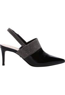 Mule Slingback Verniz Mid Heel Black | Schutz