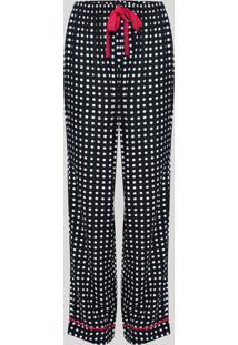 Calça De Pijama Estampada De Poá Cós Com Elástico Preto
