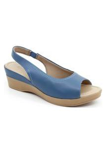 Sandália Anabela Usaflex Ac5702 Azul