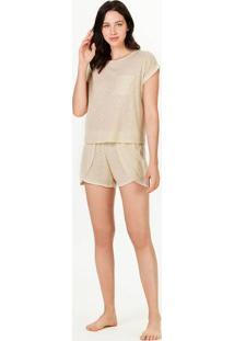 Pijama Feminino Curto Com Gola Redonda