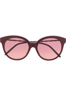 Gucci Eyewear Óculos De Sol Redondo - Vermelho