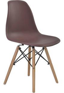 Conjunto 06 Cadeiras Eiffel S/Branco Pp Café Base Madeira