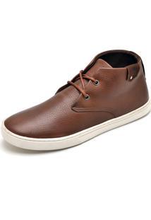 Bota Casual Em Couro Snap Shoes Café