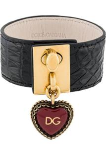 Dolce & Gabbana Heart Locket Cuff Bracelet - Preto