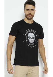 "Camiseta ""Mexican"" - Preta & Brancavip Reserva"