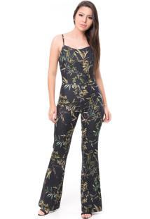 Macacão Pkd Concept Estampado Jeans Azul