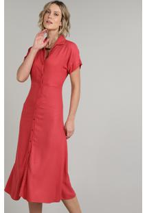 Vestido Chemise Feminino Longo Manga Curta Vermelho