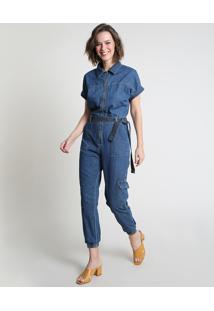 Macacão Jeans Feminino Jogger Cargo Com Zíper E Faixa Para Amarrar Manga Curta Azul Médio