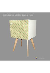 Armário Retrô Customizado Pattern I 1P, Mdf Branco, Pés Palitos, 71X45X35Cm, Develop Design