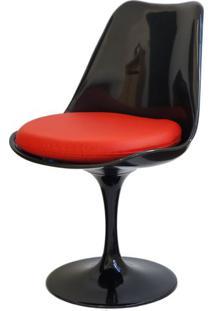 Cadeira Saarinen Preta (Com Almofada Vermelha) - 15043 - Sun House