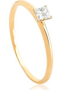 Anel Solitário De Ouro 18K Diamante 17 Pontos