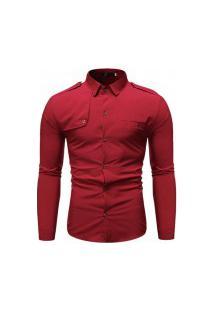Camisa Masculina Slim Detail - Vermelha