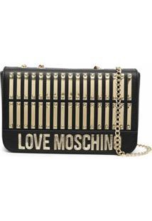 Love Moschino Logo-Plaque Leather Shoulder Bag - Preto