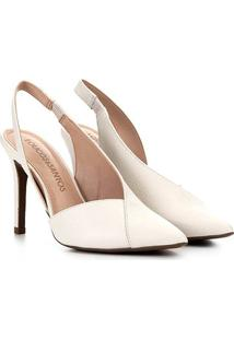 Scarpin Couro Loucos&Santos Chanel Bico Fino Recortes - Feminino-Branco