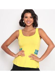 Blusa Com Amarração & Recortes - Amarela & Azul Escuro