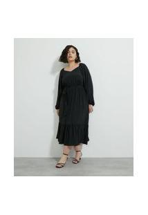 Vestido Midi Com Cinto E Maria Na Barra Curve & Plus Size Preto