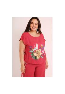 Blusa Almaria Plus Size Munny Estampada Cisne Floral Rosa
