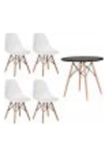 Conjunto 4 Cadeiras Eiffel Eames Branca + 1 Mesa Eames 80Cm Preta Base Madeira Sala Cozinha
