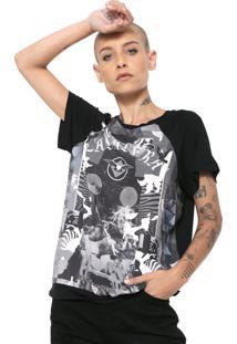 Camiseta Cavalera Raglan Preta