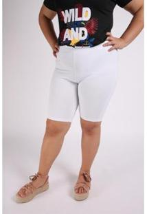 Bermuda Kauê Plus Size Cotton Feminina - Feminino-Branco