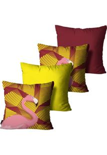 Kit Com 4 Capas Para Almofadas Mdecore Flamingo Colorido 45X45Cm