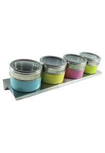 Porta Temperos Condimentos Magnetico Imã Inox 4 Potes Cores Com Suporte