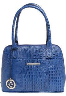 Bolsa Em Couro Croco Com Bag Charm- Azul & Dourada- Di Marlys