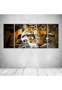 Quadro Decorativo - Leopard Neon Face (3) - Composto De 5 Quadros