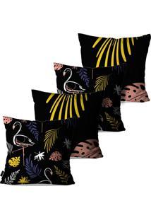 Kit Com 4 Capas Para Almofadas Pump Up Decorativas Preto Tropical Flamingos E Folhas 45X45Cm